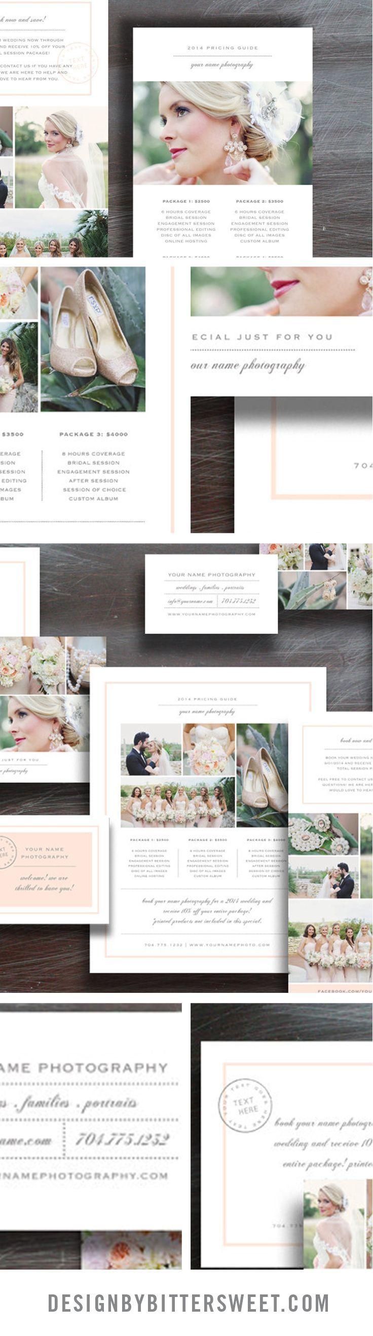 Marketing set template. Wedding photography marketing set ...