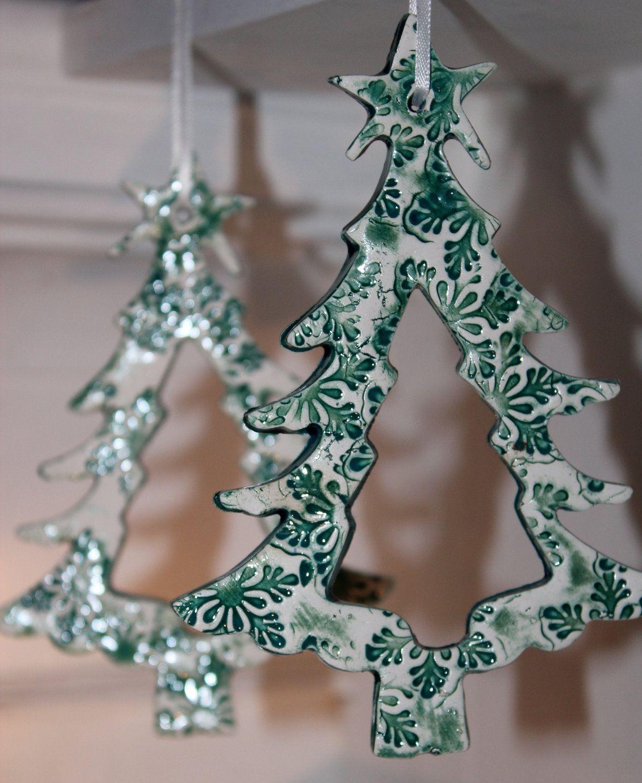 Christmas Tree Ornament - $10.00   Ceramic christmas decorations, Pottery ornaments, Polymer ...
