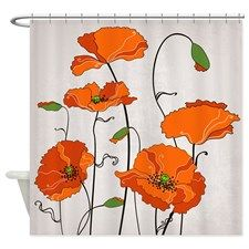 Retro Orange Poppies Shower Curtains   CafePress Canada