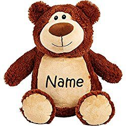 Personalised Christmas decoration embroidered with a first name and a teddy bear