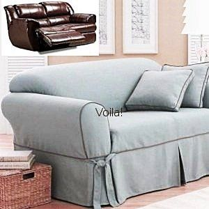 Gentil Reclining SOFA Slipcover Blue Texture Adapted For Dual Recliner Couch