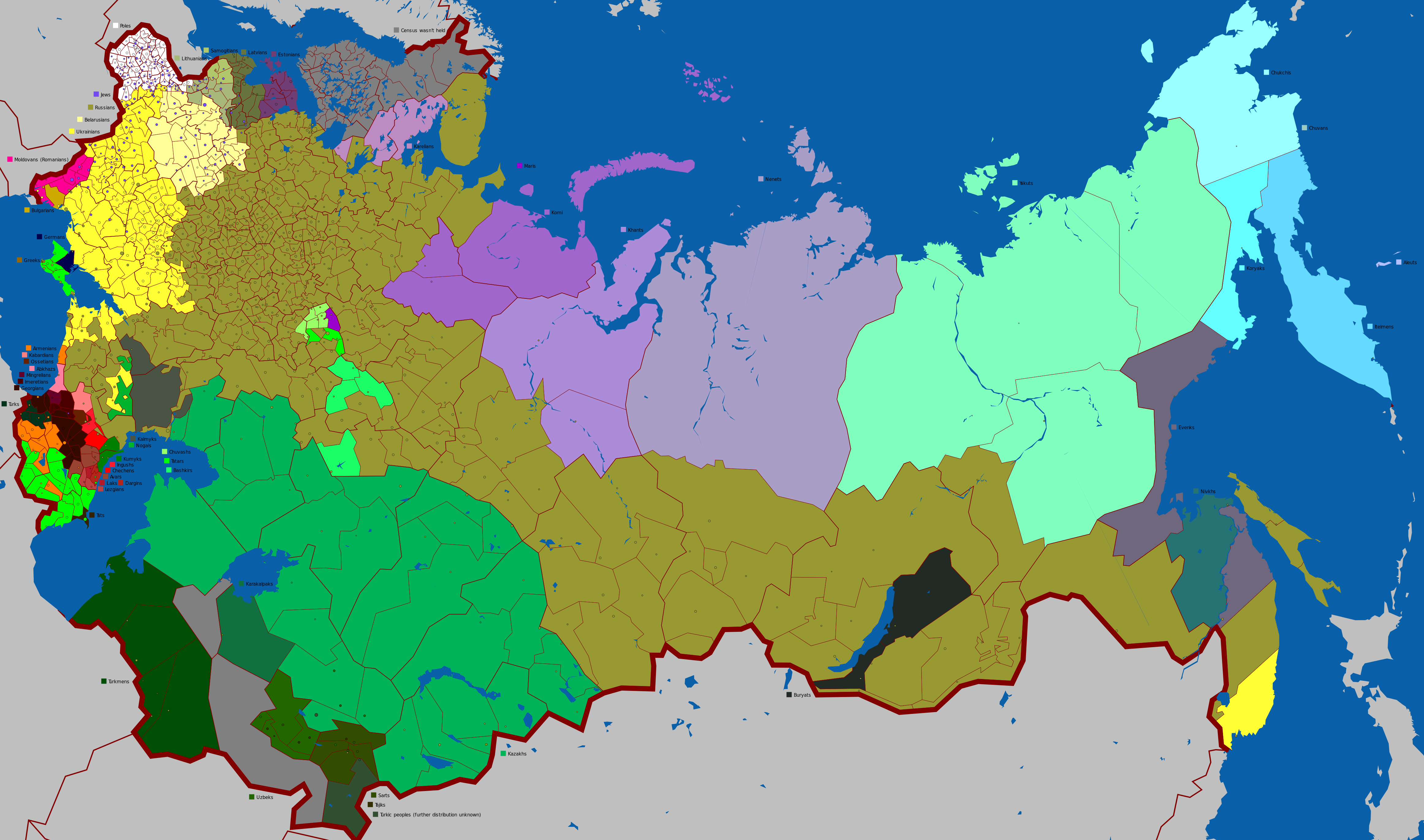 Subdivisions of the Russian Empire by largest ethnolinguistic group