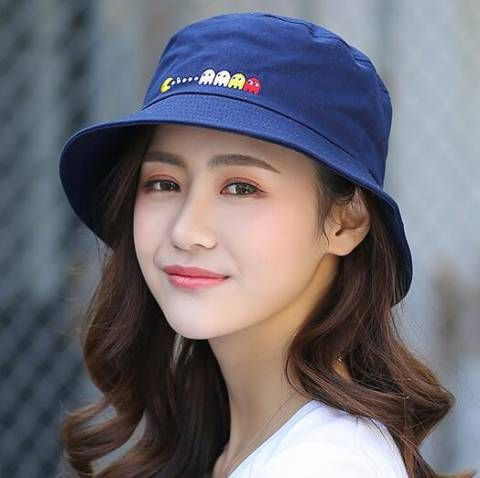 38e5afb95 Pacman embroidered bucket hat for women white sun hats | Embroidered ...