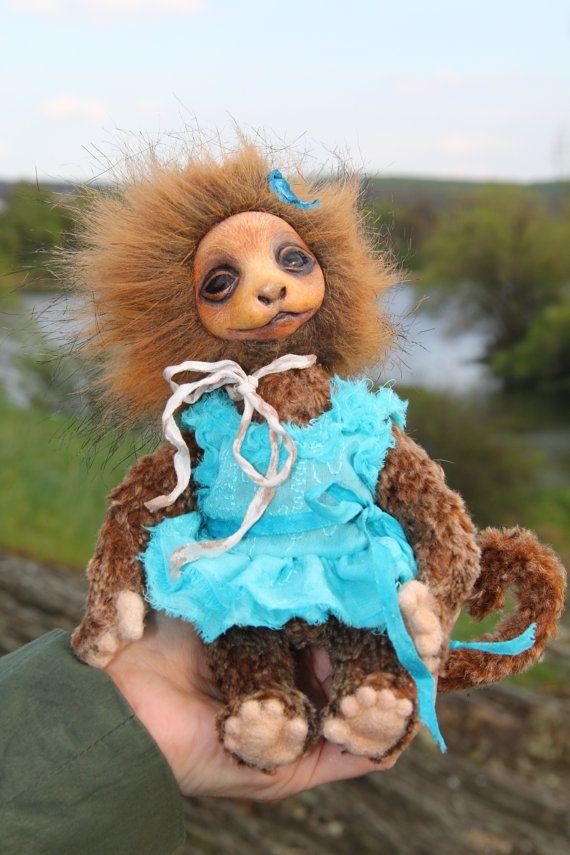 Kunst Spielzeug Teddy Puppe Affe Madhavi. von ArtdollsElenRogers