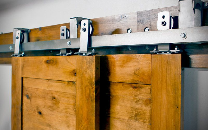 The Double Track Bypass Barn Door Hardware System Includes 2 Hanger Sets 4  Hangers Total Suitable For With Two Doors On Two