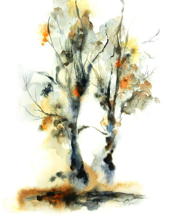 Baume Kunstdruck Aquarell Malerei Von Baumen Abstrakte Realismus