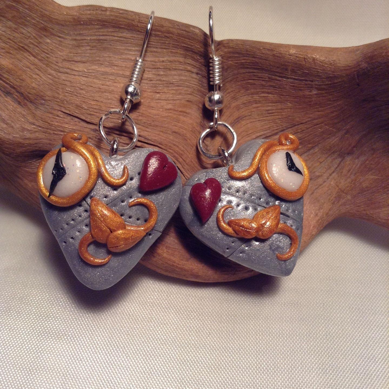 Coeur Steampunk boucles d'oreille coeur steampunk,imitation métal,montre, coeur