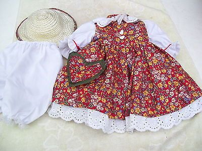 Alte-Puppenkleidung-Weinfurtner-Dress-Hat-Outfit-vintage-Doll-clothes-47-cm-Girl