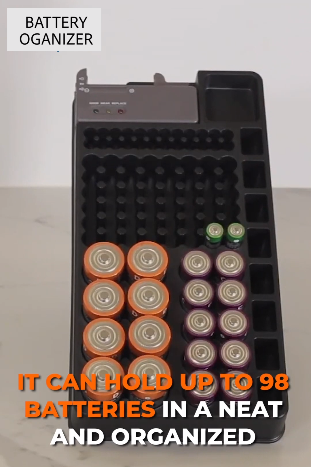 Battery Storage Organizer with Tester