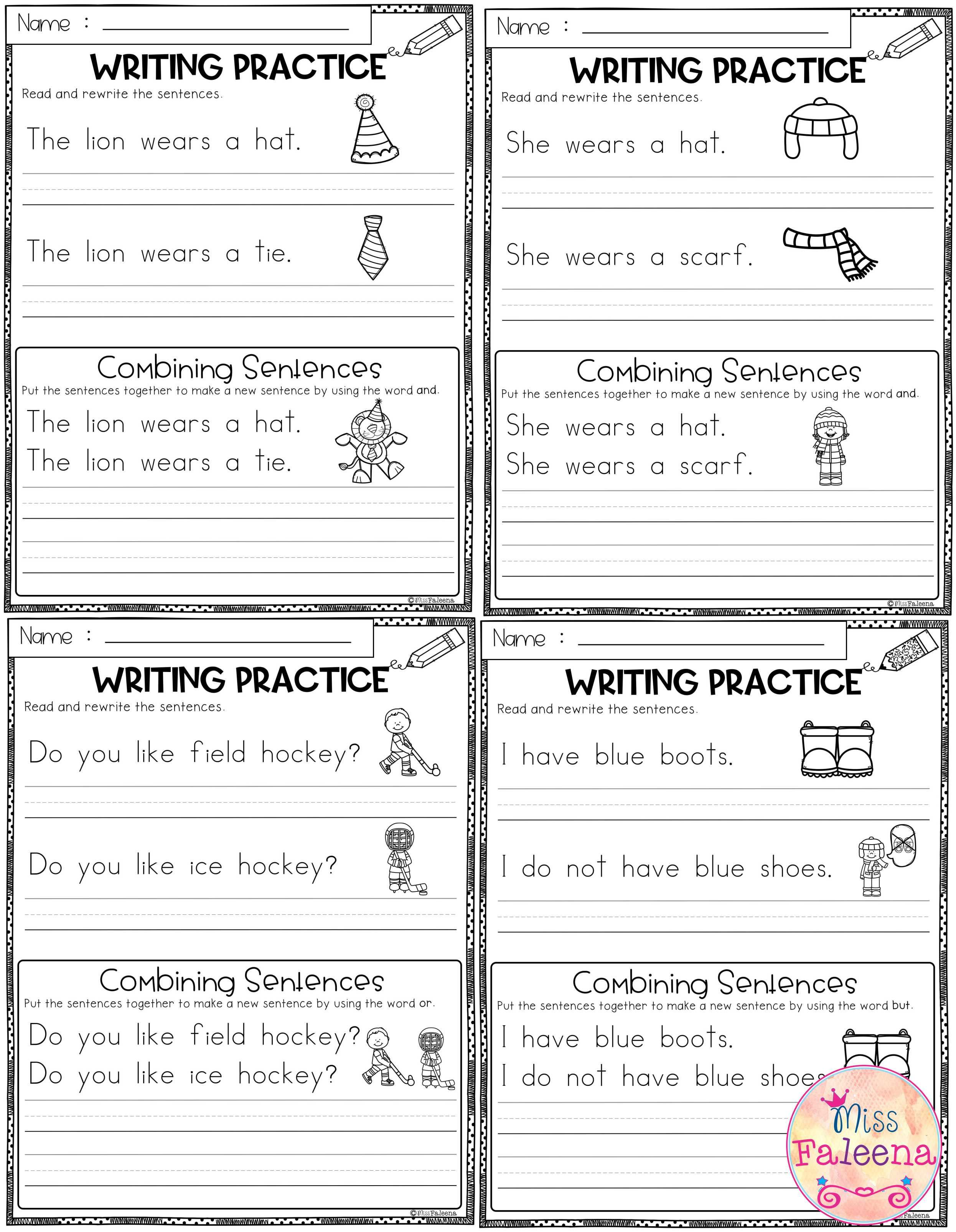 January Writing Practice Combining Sentences Is
