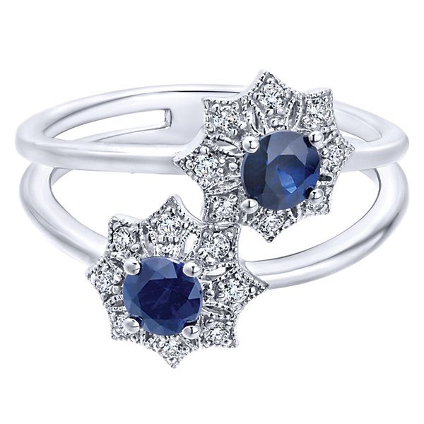 14k White Gold Diamond  And Sapphire Fashion Ladies' Ring   Gabriel