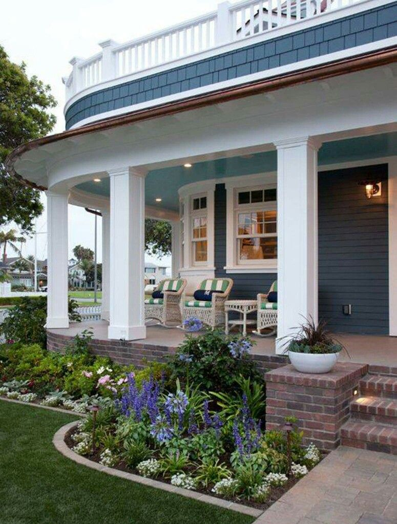 Beautiful Southern Style Wrap Around Porch Yard Front