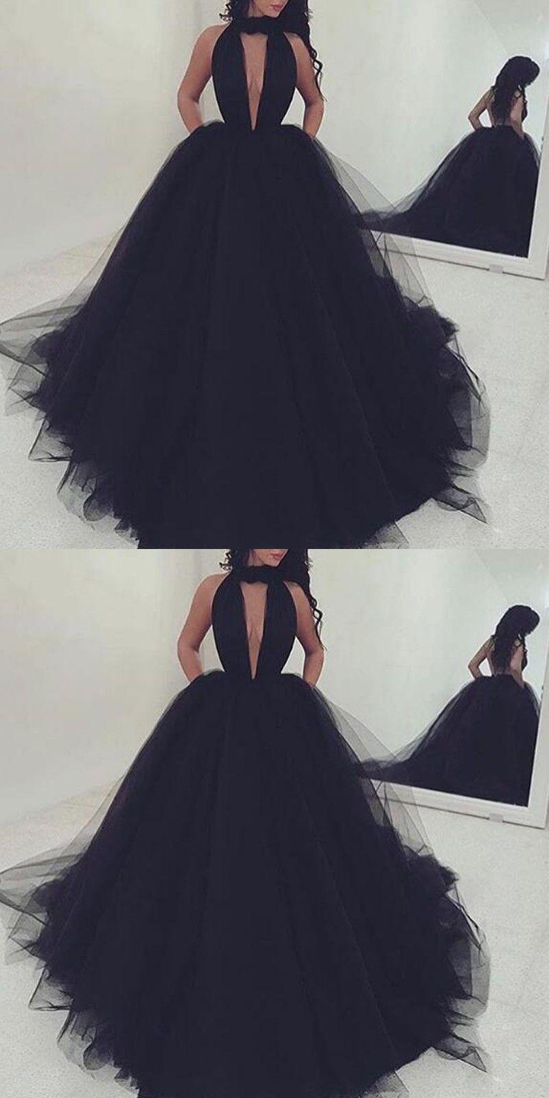Prom dressessexy black long prom dress aline deep vneck