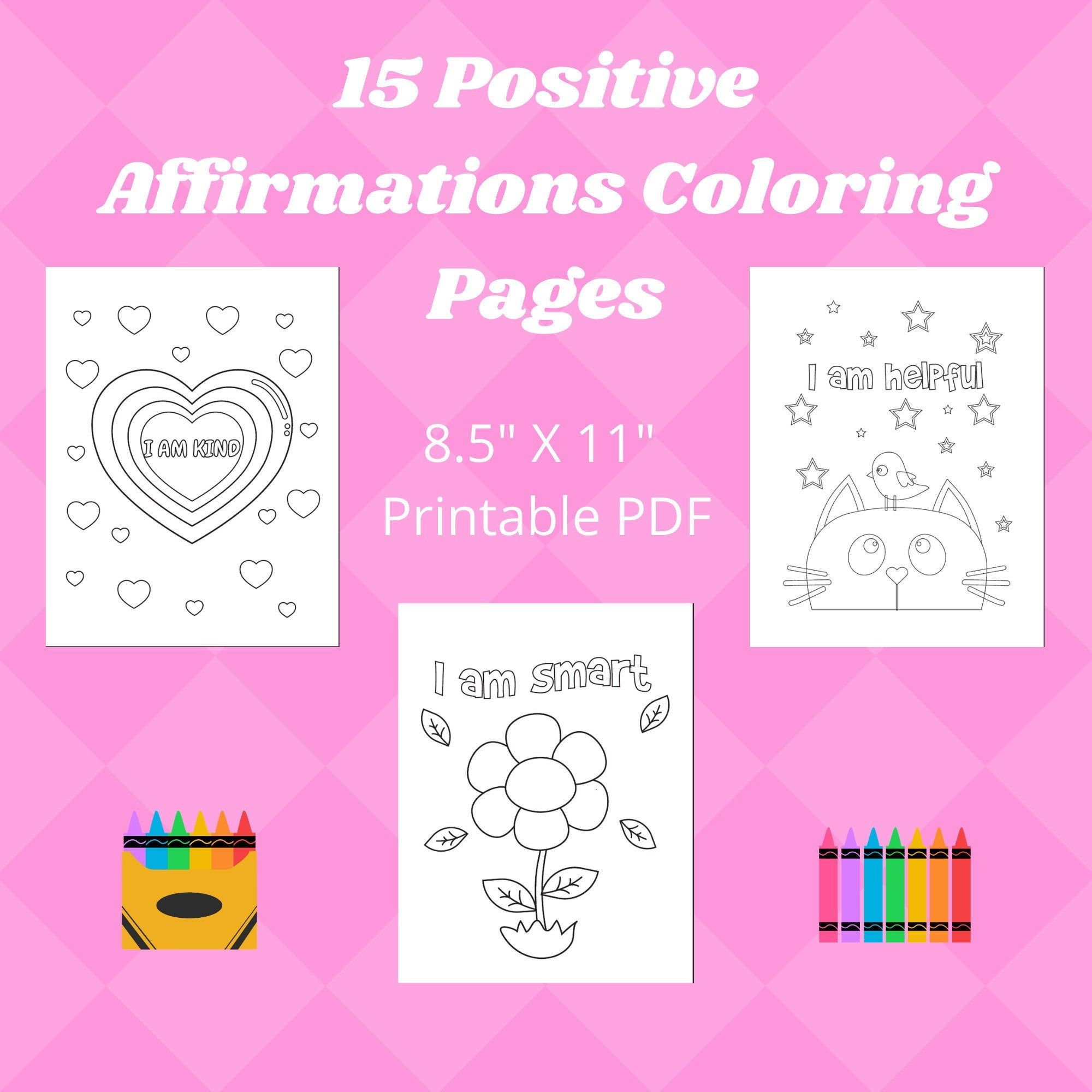 15 Positive Affirmations Coloring Pages