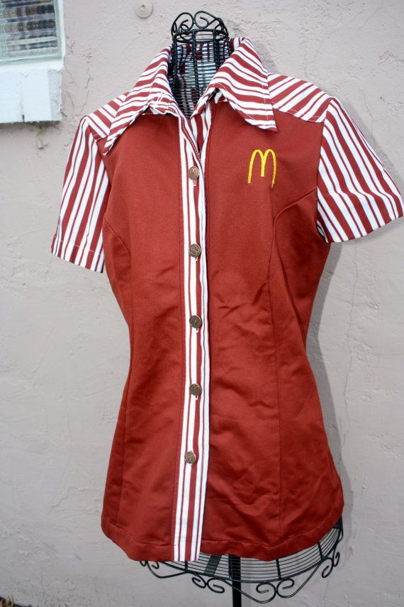 1970s retro McDonalds uniform top. by SalvagedStyleVintage on Etsy