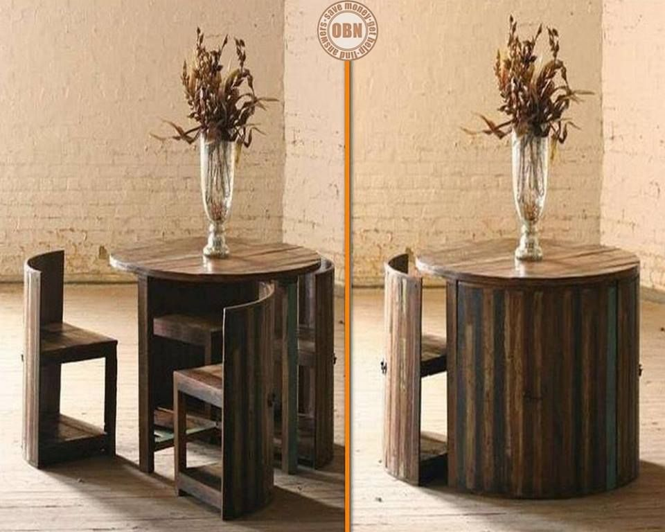 space saving furniture table. Hereu0027s A Great Space Saving Table Made From Reclaimed Teak The Chairs Are Fitted With Forged Iron Handle On Back So You Can Easily Pull Them Out Furniture