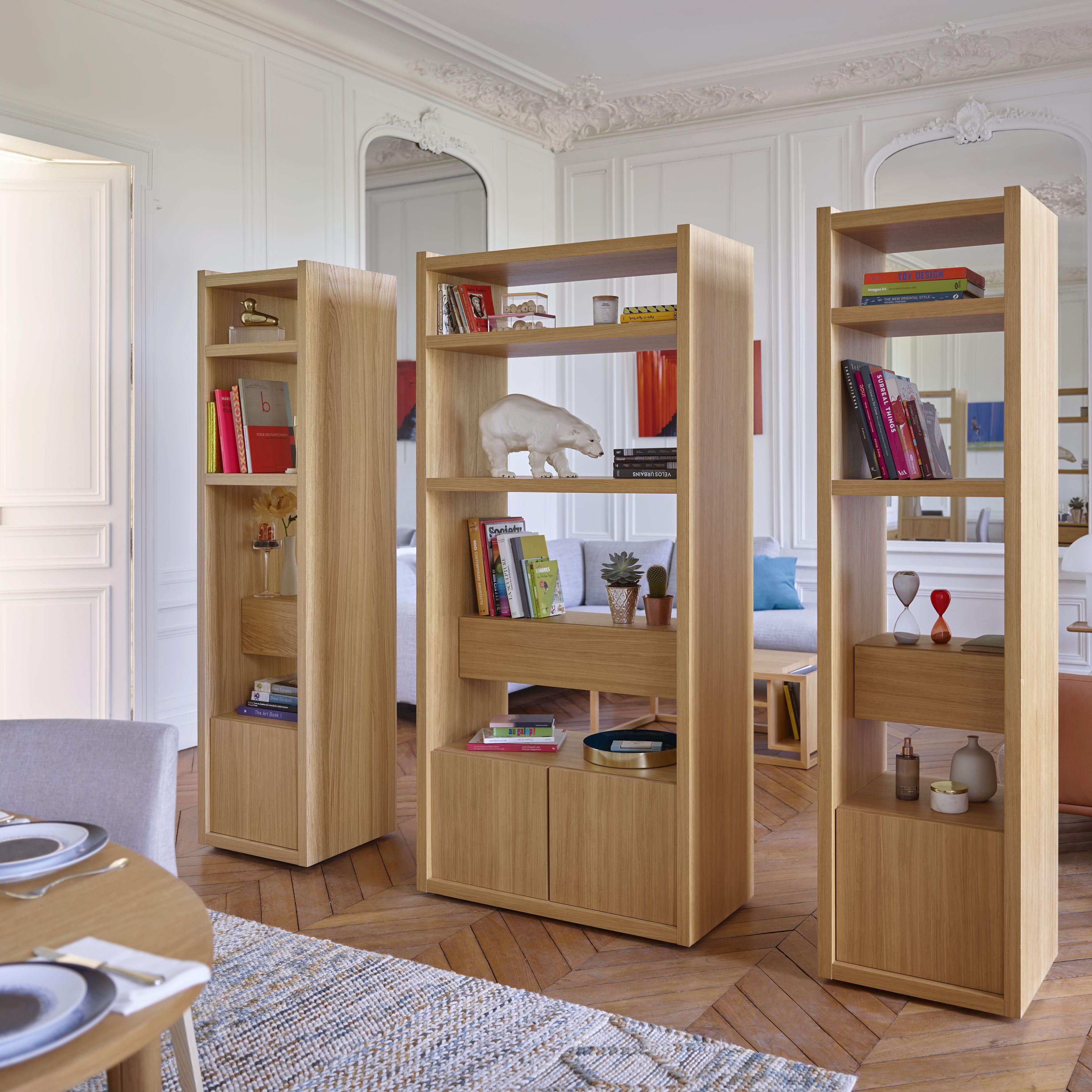 Habitat Design Genna Est Une Bibliotheque Qui A Ete Creee Par Le Studio De Design Habitat Pratique Et Etagere Chene Caisson De Rangement Bibliotheque Chene