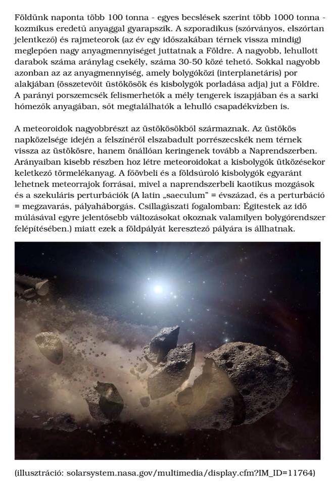 Földünk naponta több 100 tonna - egyes becslések szerint több 1000 tonna - kozmikus eredetű anyaggal gyarapszik.