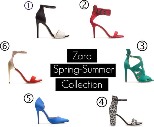 """Zara Spring -Summer Collection"" by vivialexa on Polyvore Today I went to Zara and fell in love with their Spring-Summer heels collection. I couldn't decide which one I liked more. I decided to go with the High Heel Vamp (5). The color is amazing and I knew that it will instantly give any outfit the perfect pop."
