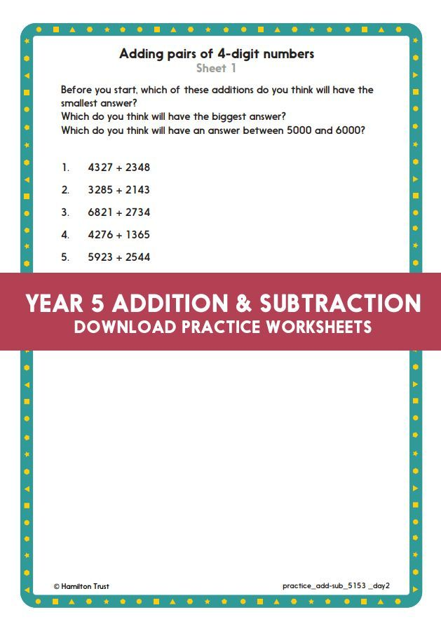 Year 5 Maths Addition And Subtraction Column Addition With 4 And 5