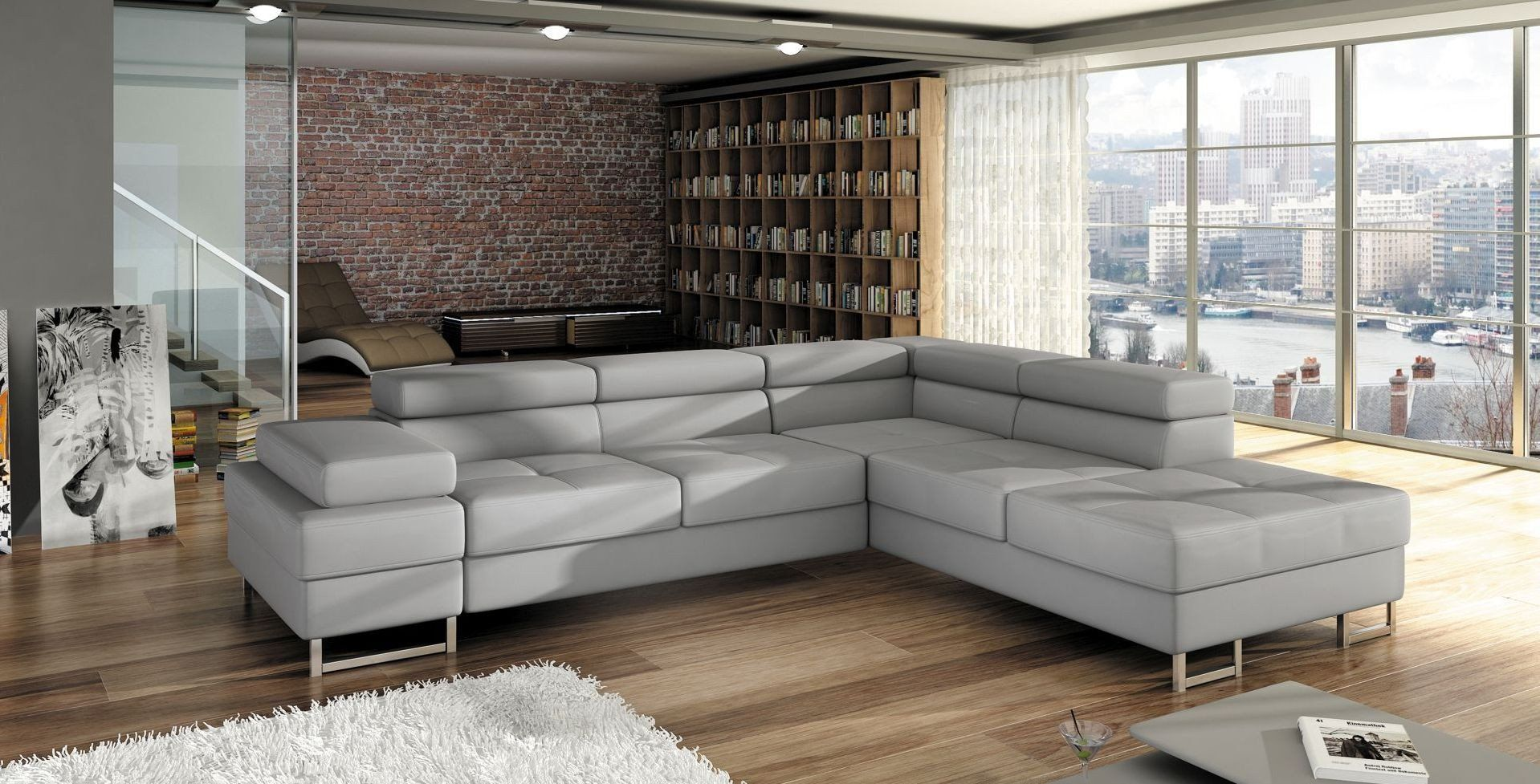 Special Offers 799 Included 2 Colours Of Fabrics White Black And Dark Grey Faux Leather The Modern Corner Sofa Bed T Corner Sofa Bed Corner Sofa Furniture