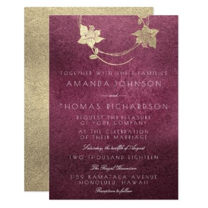 Burgundy maroon gold wreath vertical gold beetroot invitation burgundy maroon gold wreath vertical gold beetroot card invitations personalize custom special event invitation idea stopboris Images
