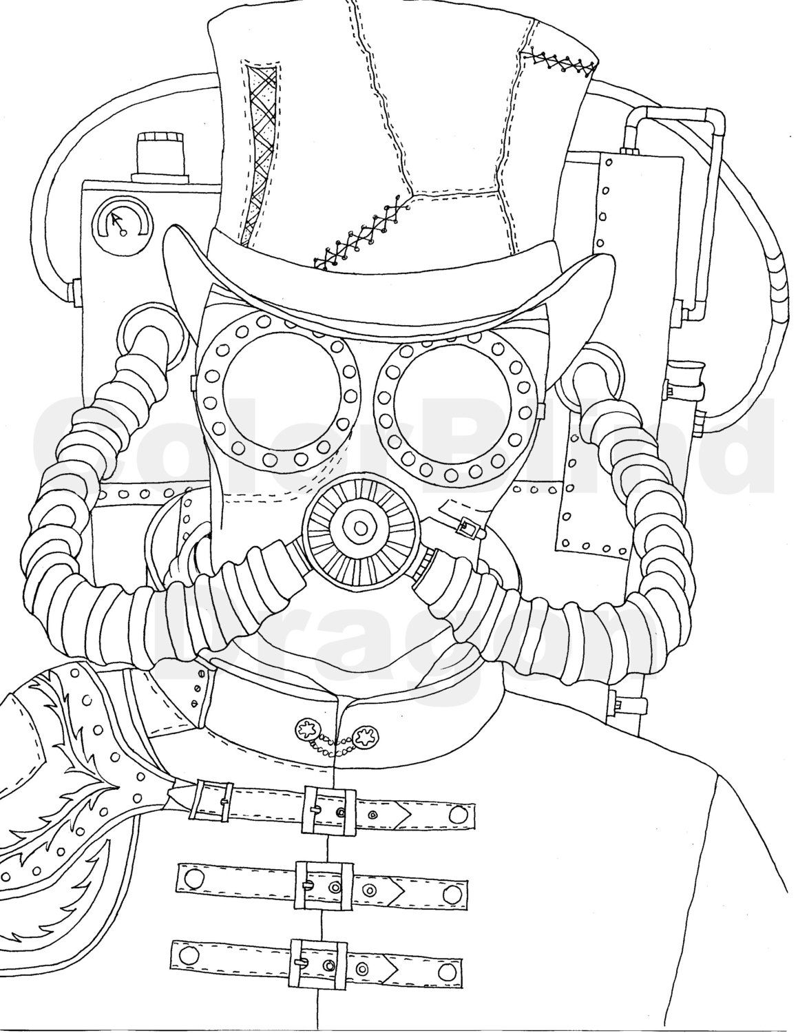 Steampunk Coloring Pages Steampunk Mask Mechanical
