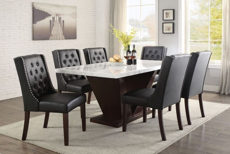 Acme 72120 70242 7 Pc Forbes White Marble Top Walnut Finish Wood Dining Table Set Side Chairs Dining Dining Chair Set Acme Furniture