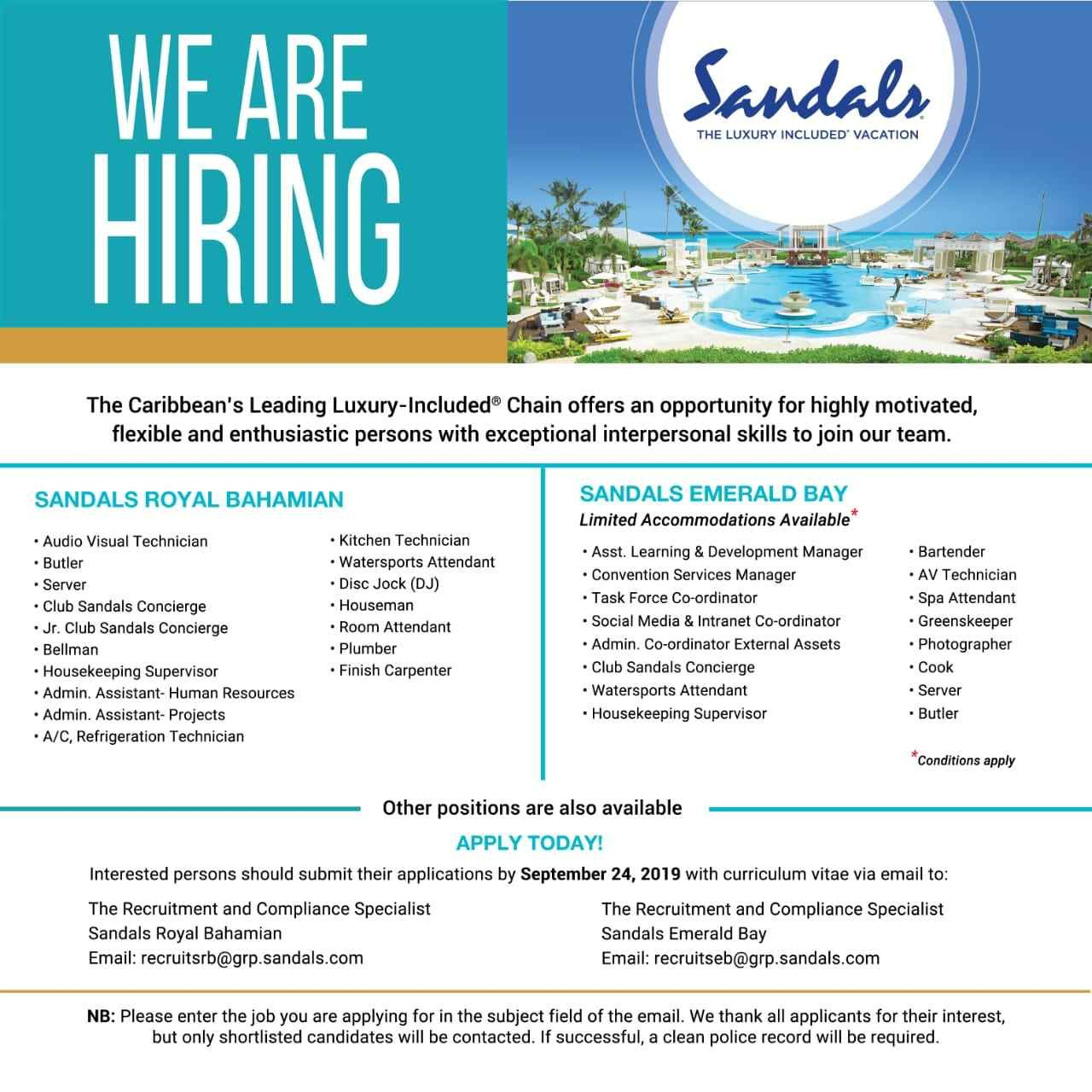 Sandals Hiring Interpersonal Skills Learning And Development Employment Opportunities