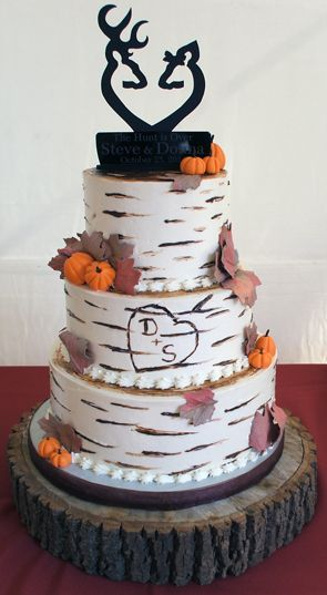 3 Tier Buttercream Birch Tree Fall Themed Wedding Cake Wedding