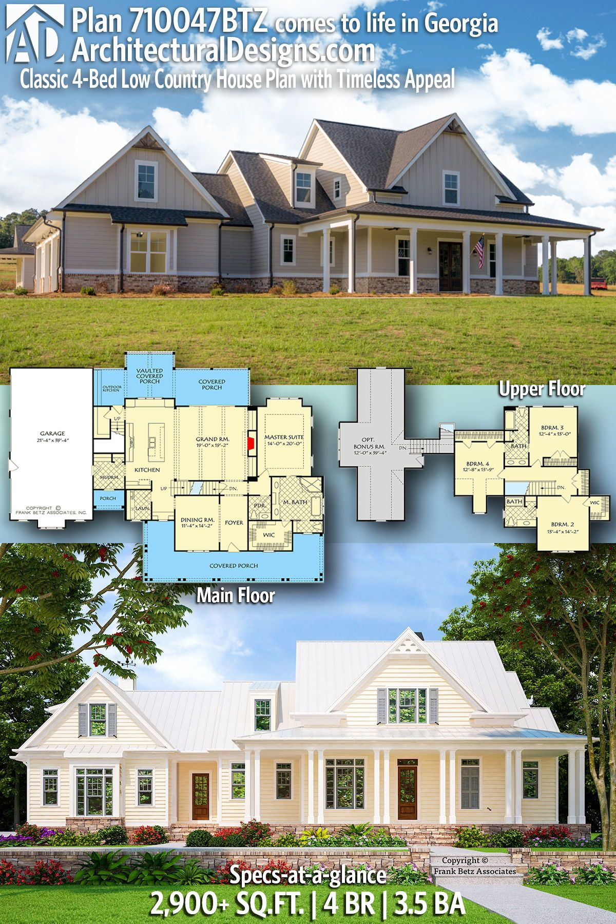 Plan 710047btz Classic 4 Bed Low Country House Plan With Timeless Appeal Country House Plan Country House Plans Architectural Design House Plans