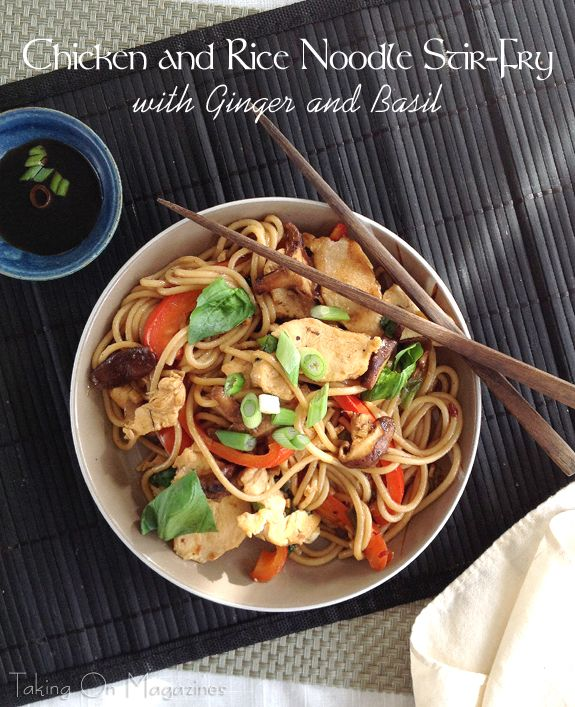 Chicken And Rice Noodle Stir Fry With Ginger And Basil Resep