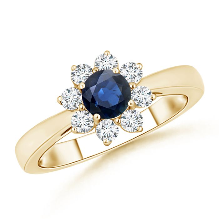 Angara Three Stone Sapphire and Diamond Engagement Ring in White Gold 3FR6ea