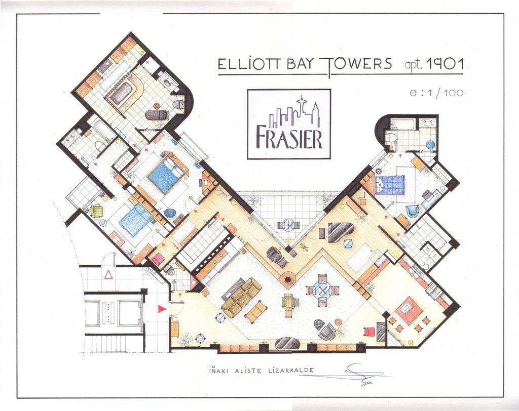 Southgate Residential Tv And Movie Houses Dr Frasier Crane S Apartment Floor Plan Drawing Apartment Floor Plan House Floor Plans