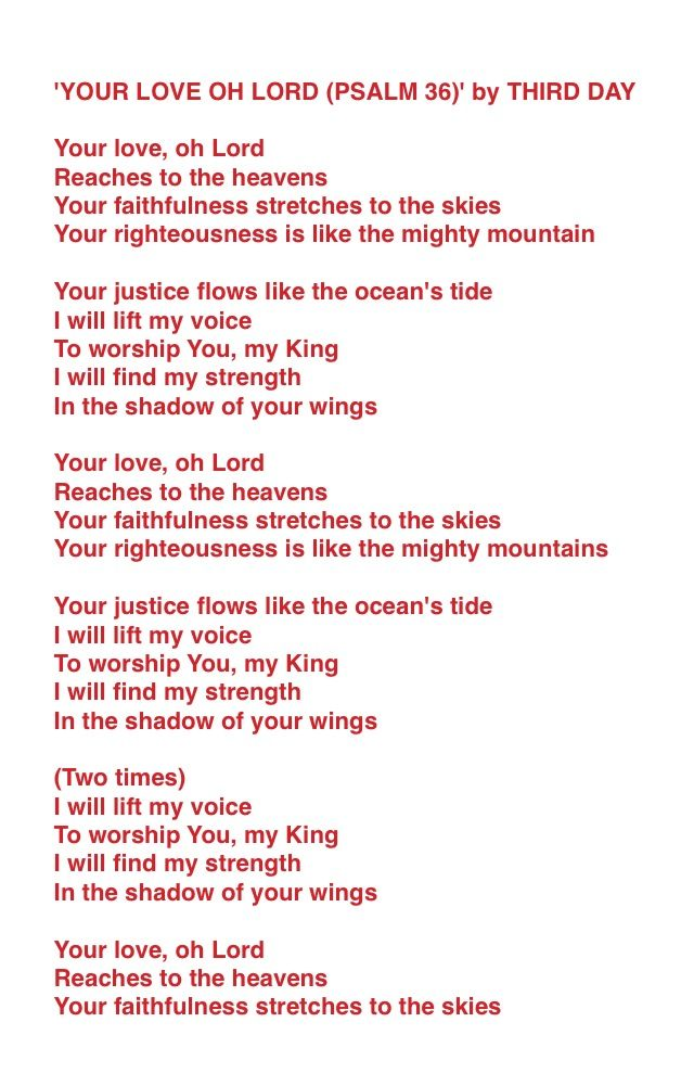 Lyric find my lyrics : Lyrics for: YOUR LOVE OH LORD (PSALM 36) by THIRD DAY | Quotes ...
