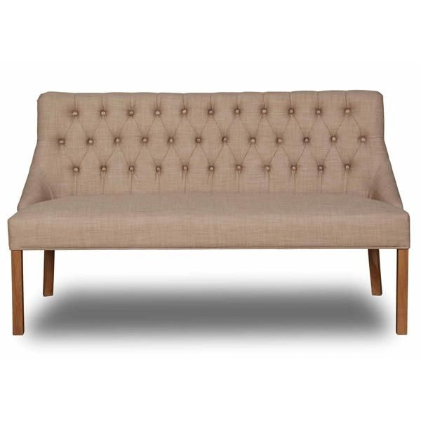 Bon Stanton Dining Bench Cotswold Wool Front View With Wooden Legs