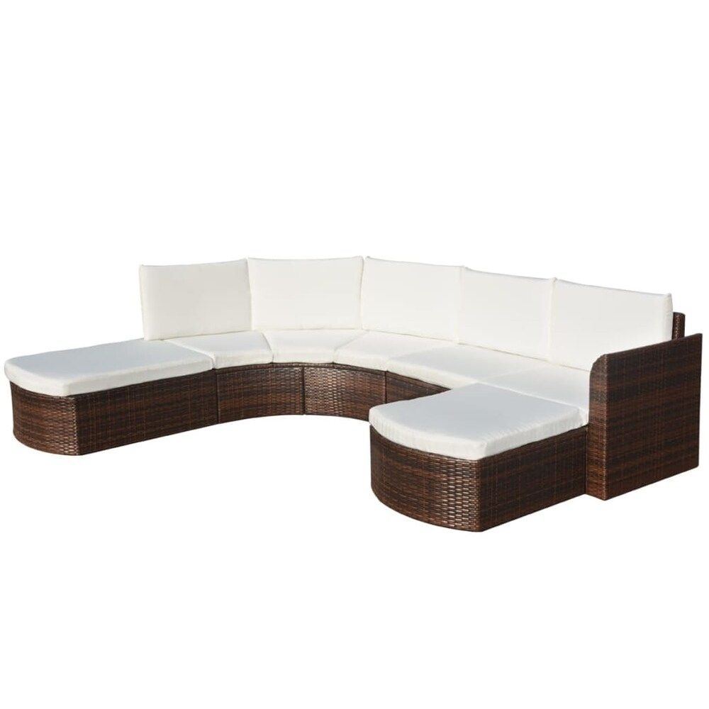 petite 4 Piece Garden Lounge Set with Cushions Poly Rattan ...
