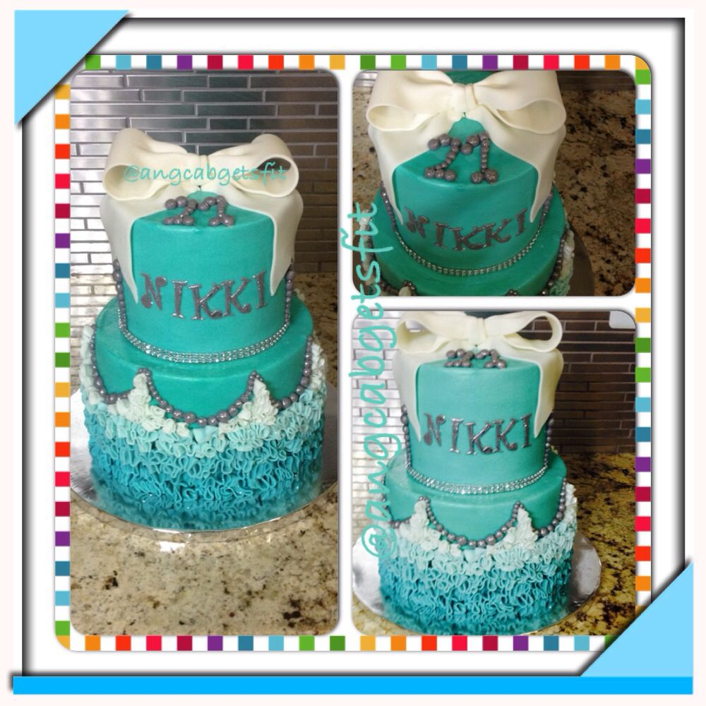 Tiffany Blue birthday cake bling bow ombre ruffles sparkly