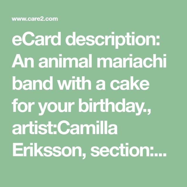 ECard Description An Animal Mariachi Band With A Cake For Your Birthday ArtistCamilla Eriksson SectionBirthday Cards CategoryEn Espanol Typeflash