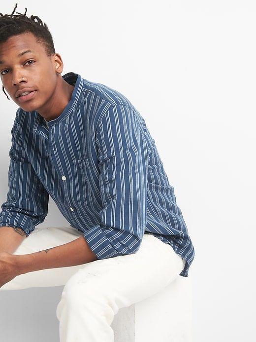 beffcdf621 Gap Mens Standard Fit Band Collar Shirt In Linen-Cotton Cool Blue Stripe