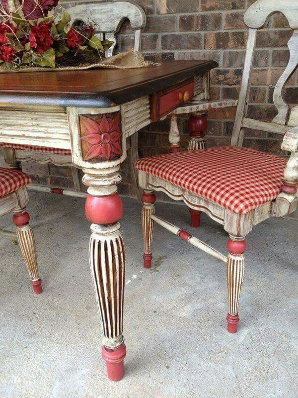 Dining Table And Chairs  Füℜni✞Uℜ€*** ❀⊱Painted Treasures Captivating French Country Dining Room Chairs Design Inspiration