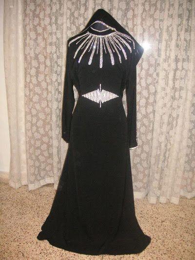 Very Stylish Full Of White Swarovski Diamond Handwork Party Wear Look With Work On Hijab Www Rezaburqa Com Mob 9199 Fashion Long Sleeve Dress Islamic Clothing