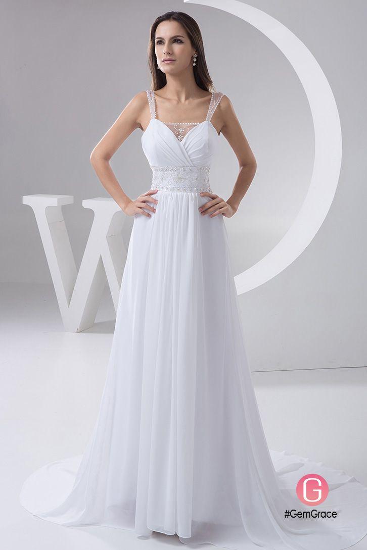 A-line V-neck Court Train Chiffon Wedding Dress With Beading #OP4830 ...