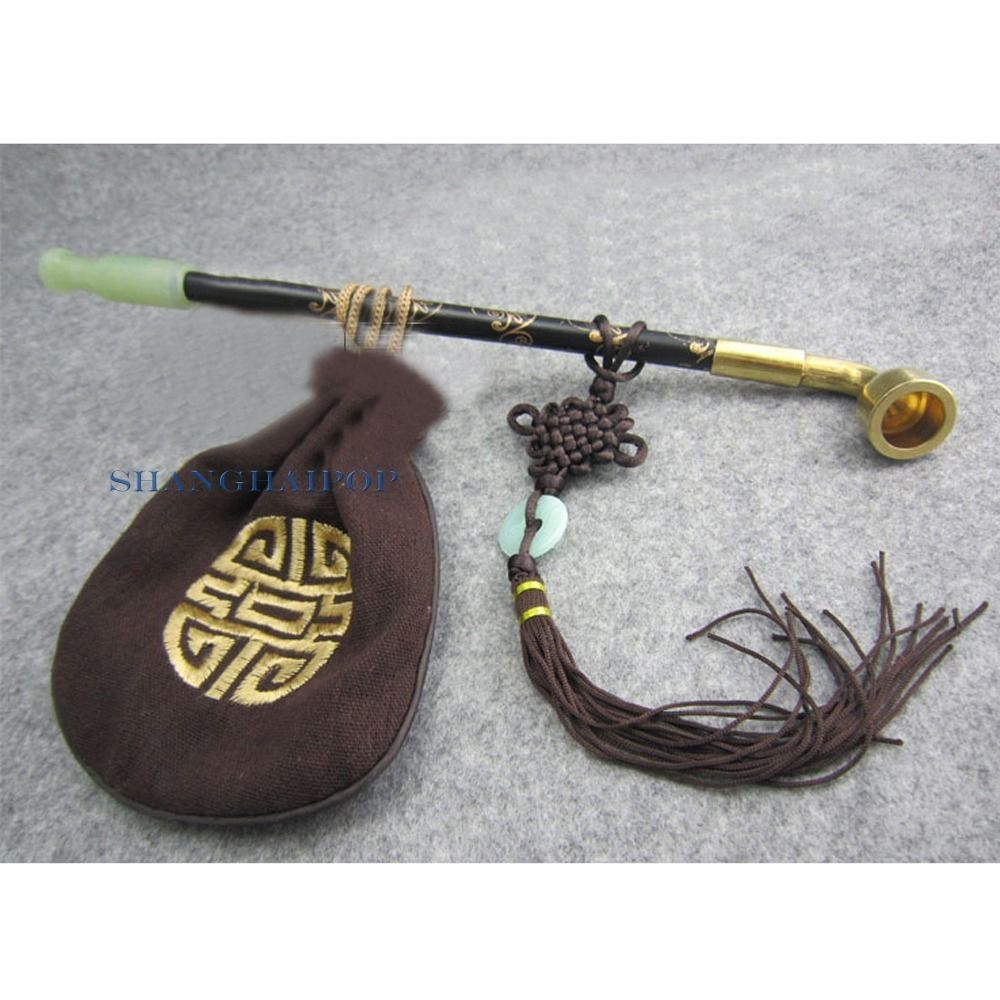 Brass/Wood/Jade Smoking Tobacco Pipe Long Stem Oriental