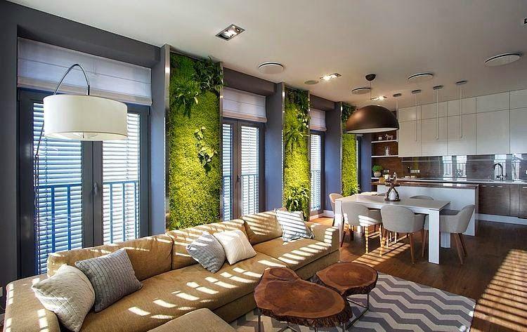 Jardín vertical en el interior de un apartamento   SVOYA Studio