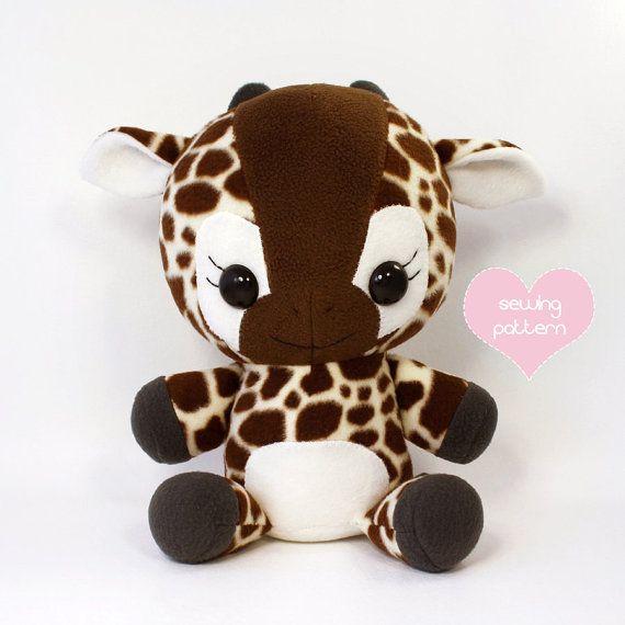 PDF sewing pattern - Giraffe stuffed animal - easy cute kawaii anime ...