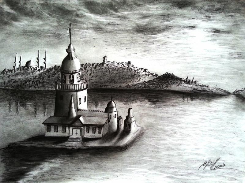 Karakalem Manzara Kız Kulesi Kalem Art Artwork Ve Drawings