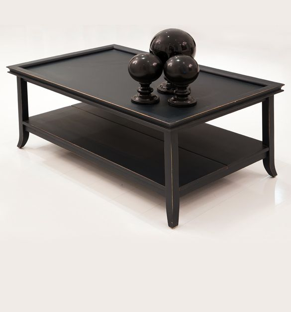 The Casa A Wooden Coffee Table With Lower Shelf Is Shown Here In Matt Black