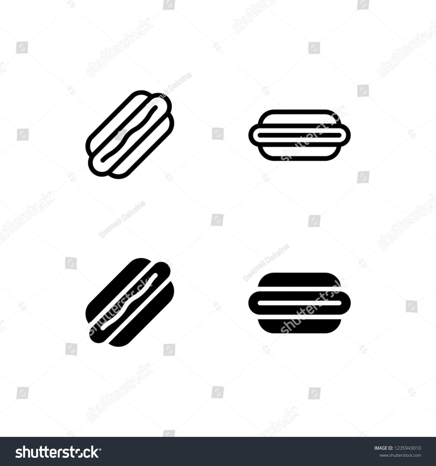 Hot Dog Icon Design Hot Dog Sausage Mustard Fast Food Meat Icon Logo Vector Symbol Set Sign Design Button Vector Logo Dog Icon Logo Design