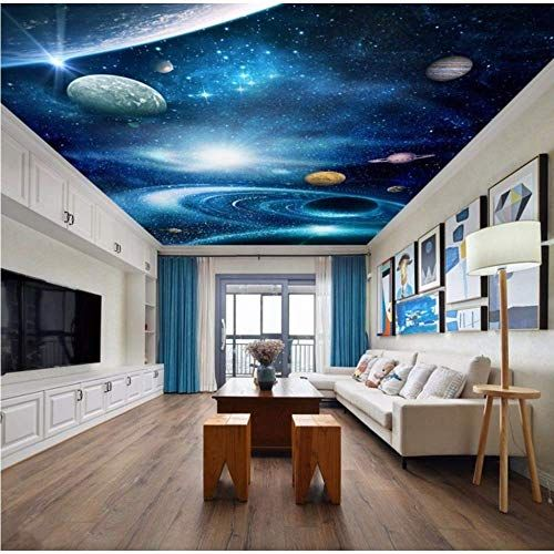 Pbldb Universe Outer Space 3D Ceiling Wallpaper for Hall Living Room 3D Wall Ceiling Murals 3D Wall Mural 3D Wall Paper Large Mural-150X120Cm